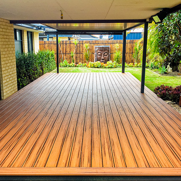 This Cyprus decking complements an oriental themed garden.