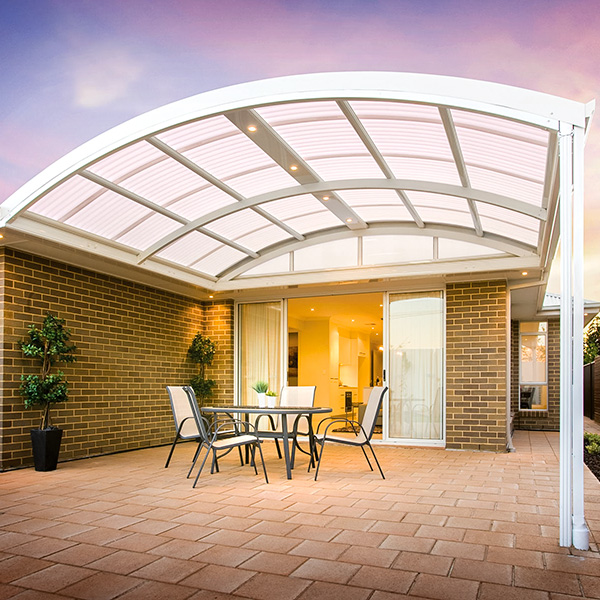 A dome patio shelters a courtyard